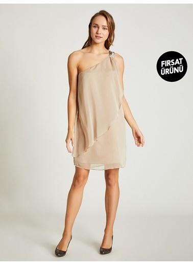Vekem-Limited Edition Tek Omuz Payet Detaylı Şifon Elbise Bej